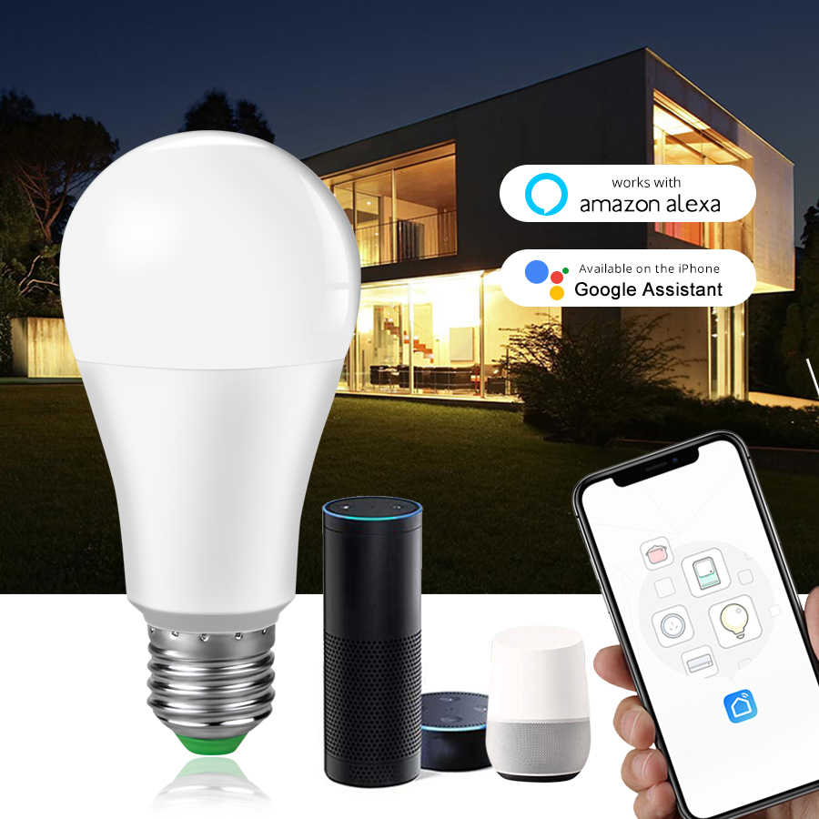 B22 E27 LED Smart Lamp WiFi Bulb 15W Smart Life Dimmable Remote Control APP Work With Amazon Alexa Google Home No Hub Required