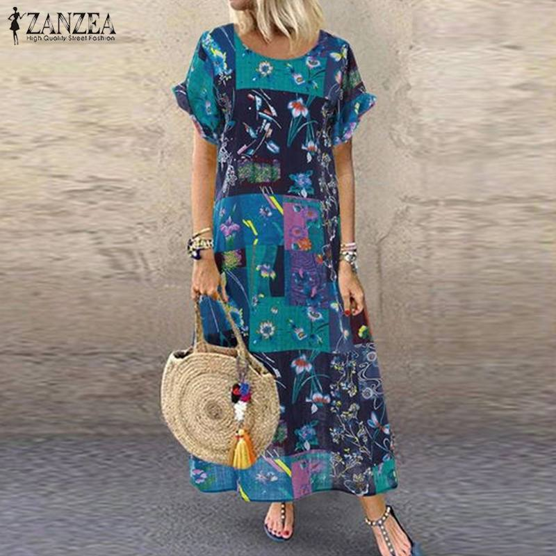 S 5XL ZANZEA Summer Bohemian Sundress 2020 Women Party Long Dress Casual Vintage Short Sleeve Floral Printed Vestido Female Robe(China)