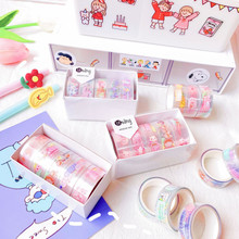 ZUIDID Life Practical 5 Pieces/Set Of Diary Paper For Scrapbook Decoration Cute Exquisite Paper Tape Set