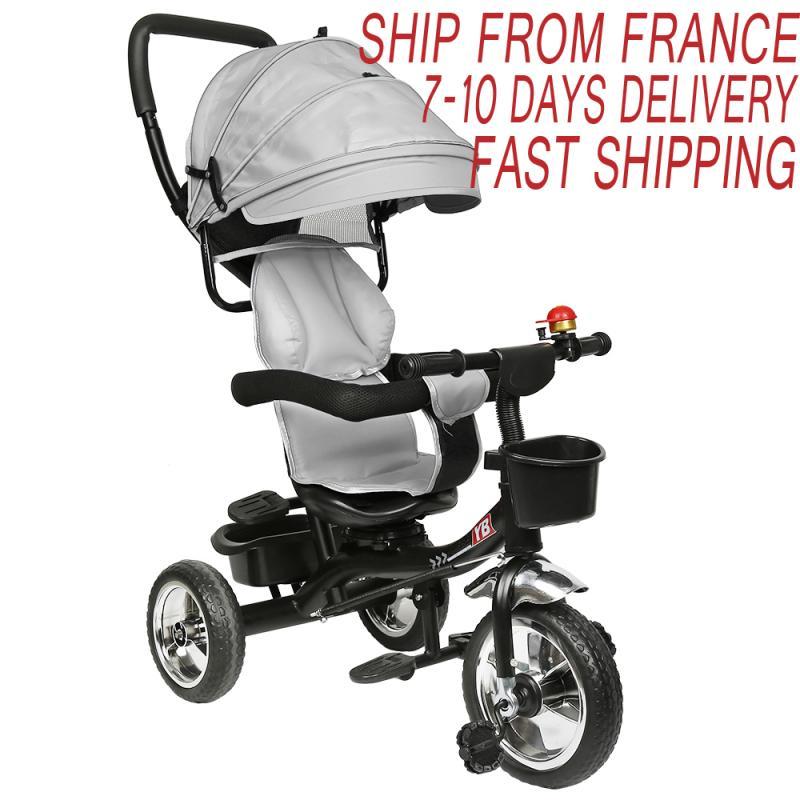 4 ב 1 תינוק תלת אופן מתקפל מסתובב תינוק מושב עגלת 3 גלגלים אופניים אופני ילדים עם פעמון מראה אחורית תינוק עגלת HWC