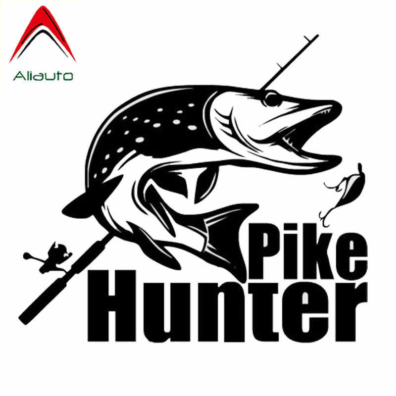 Aliauto Mode Auto Sticker Pike Hunter Fishing Bite Auto Styling Vinyl Decal voor Volvo Lada Niva Toyota Rav4 Renault, 23cm * 20cm
