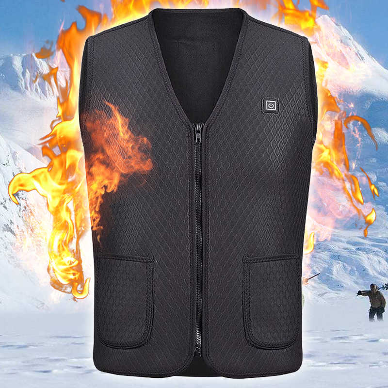 Men Women USB Heating Vest Flexible Electric Thermal Clothing Waistcoat Outdoor Infrared Jacket Winter Fishing Hiking Dropship