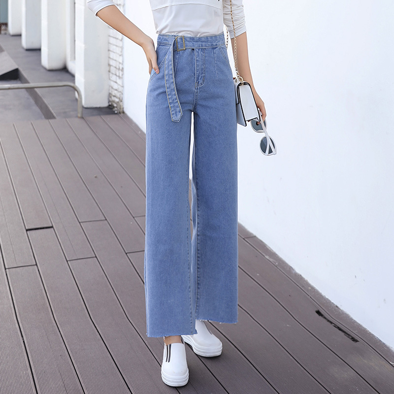 Denim Wide Leg Trousers Women's Nine - Minute Trousers High Waist With Loose Straight Tube Students Look Thin And Sexy