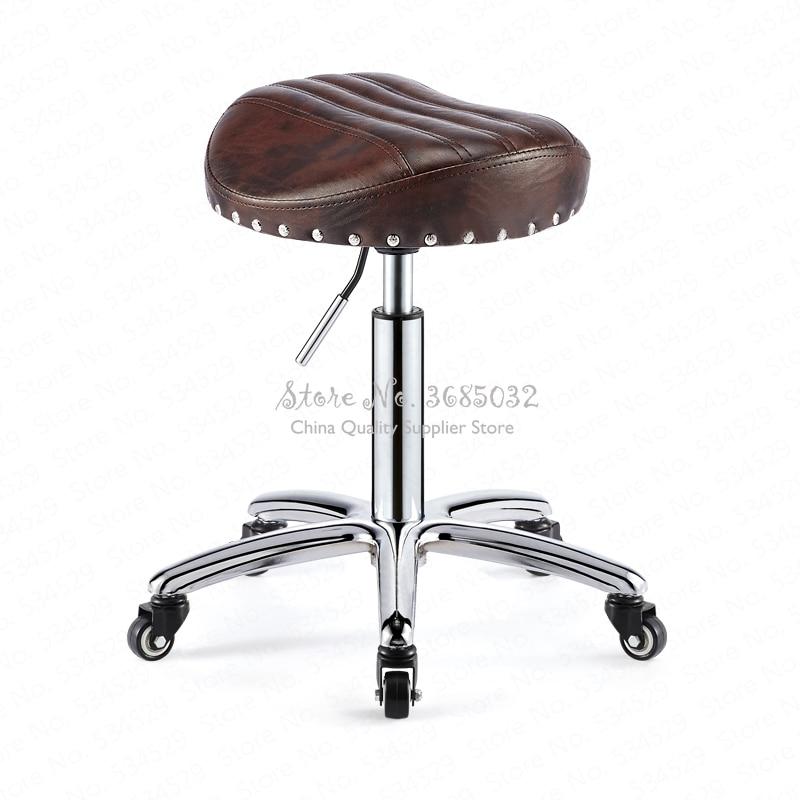 Beauty stool barber shop chair hair salon rotating lift stool nail makeup salon pulley workbench
