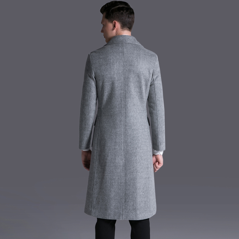 Mens Mignlu Wool Coats Luxury Double Breasted Long Style Woolen Men Trench Plus Size 6xl Business Outwear Gray Male Overcoat