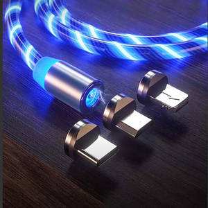 LED flow USB charger cable lamp shine charger glow charger magnetic quick connection magnetic three-in-one USB cable compatible