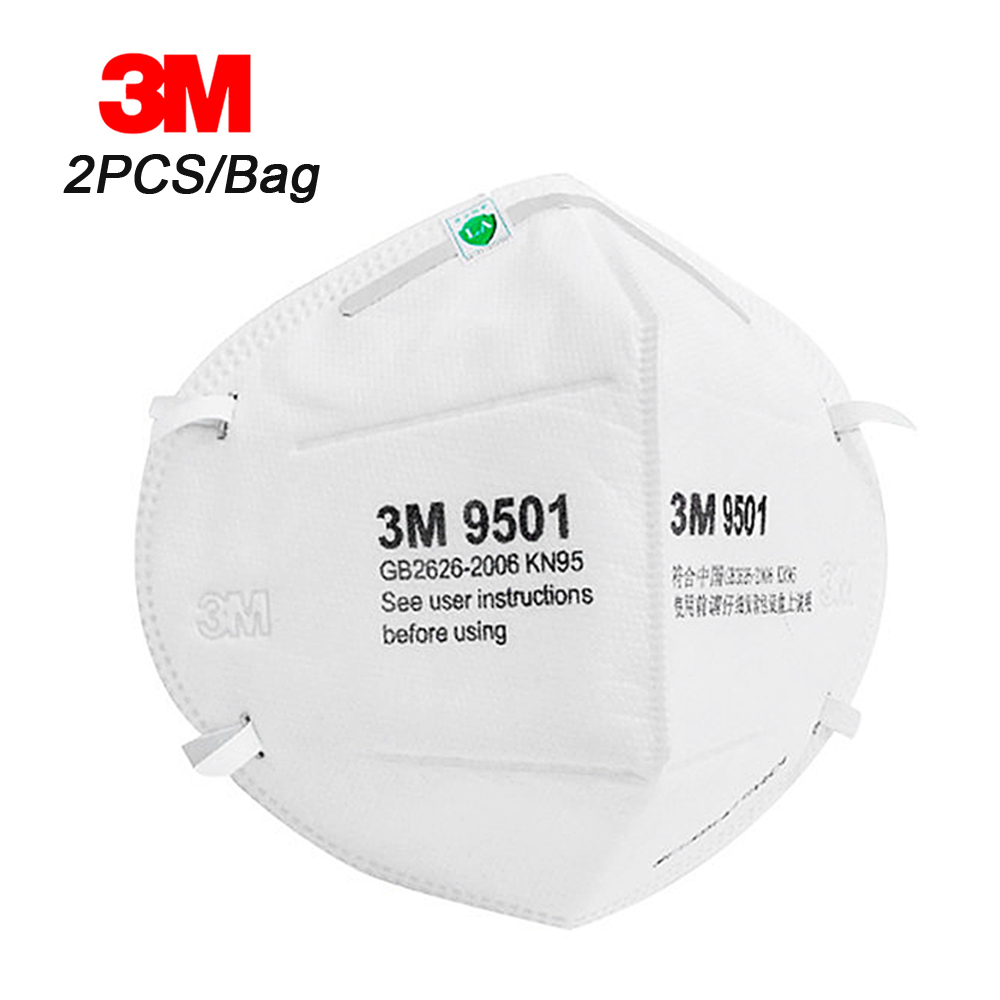 3M 9501 2PCS  Face Mouth Mask Particulate Respirator Protective Masks Safety Mask PM2.5 Smog Haze Dustproof Outdoor Sports
