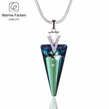Warme Farben Crystal van Swarovski Driehoek Kristal Hanger Ketting met Slang Ketting Fine Jewelry Gift voor Lady Collares