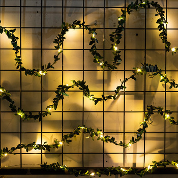 2M 30 LED Artificial Plants Garland Light Green Leaf Ivy Vine Fairy String Lights DIY Hanging Fake Leaves Lamp For Home Decor artificial ivy green leaf wicker garland plants vine fake foliage home garden leaves osier decor fake rattan string grass cactus