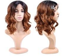 Alileader perucas dianteiras do laço 16 Polegada longo onda do corpo raiz escura perucas sintéticas para preto feminino 3 cores preto peruca de cabelo marrom