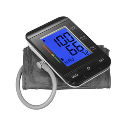 AlphagoMed LCD Upper Arm Blood Pressure Monitor with Cuff Digital Sphygmomanometer Pulse Rate 90 Data Memory/IHB Indicator