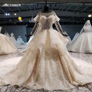 Image 1 - HTL1086 abito da sposa manica lunga della boemia del branello lucido di cristallo del merletto della principessa abito da sposa abito da sposa illusion платье свадебное