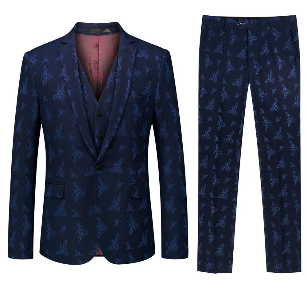Men's Suit Three-piece Suit (jacket + Pants + Vest) Men's Business Casual Formal Suit Fashion Slim Wedding Banquet Suit