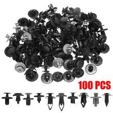 100pcs/set 10 Type Mixed Car Plastic Push Rivet Trim Panel Fastener Clip 6/7/8mm Dia Hole Door