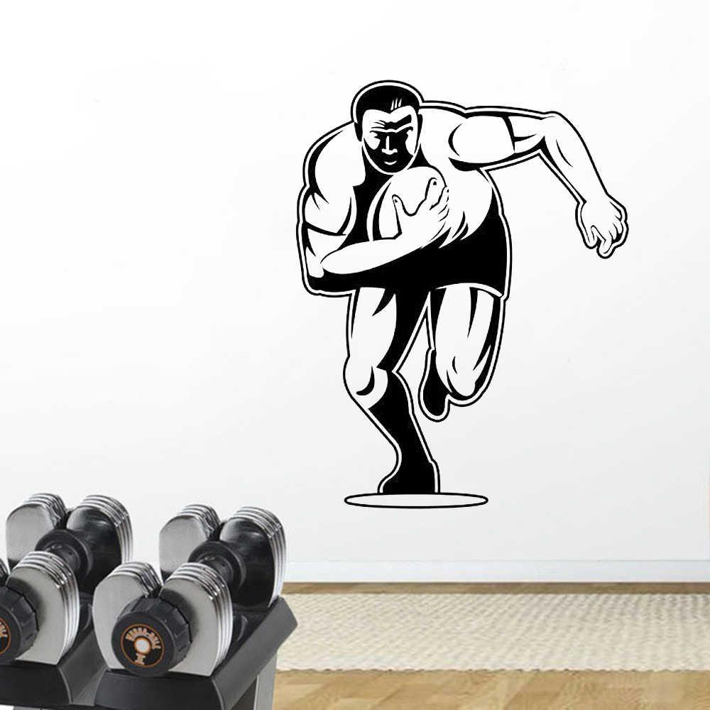 YOYOYU Rugby oyuncusu vinil duvar sanatı çıkartmaları yatak odası karikatür Rugby vinil duvar çıkartması spor salonu spor dekor çıkarılabilir duvar posteri HL119