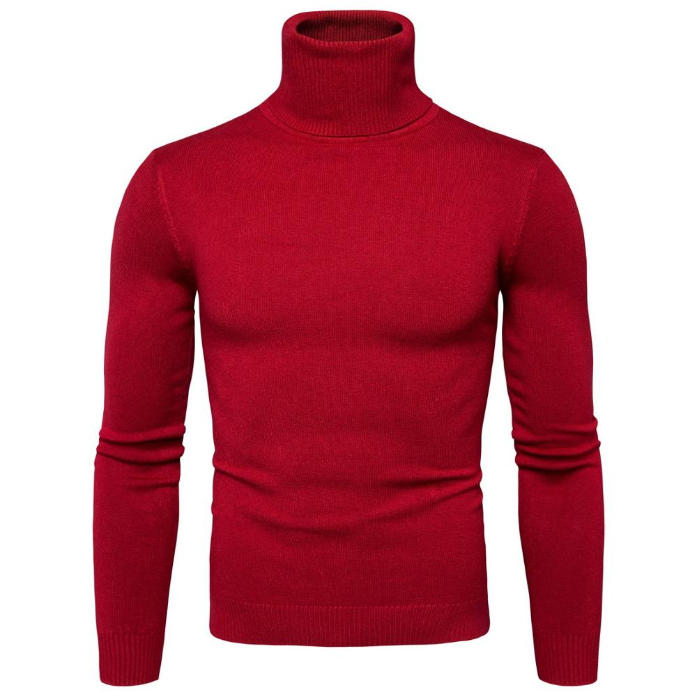 Winter High Neck Thick Warm Sweater Men Turtleneck  Mens Sweaters Slim Fit