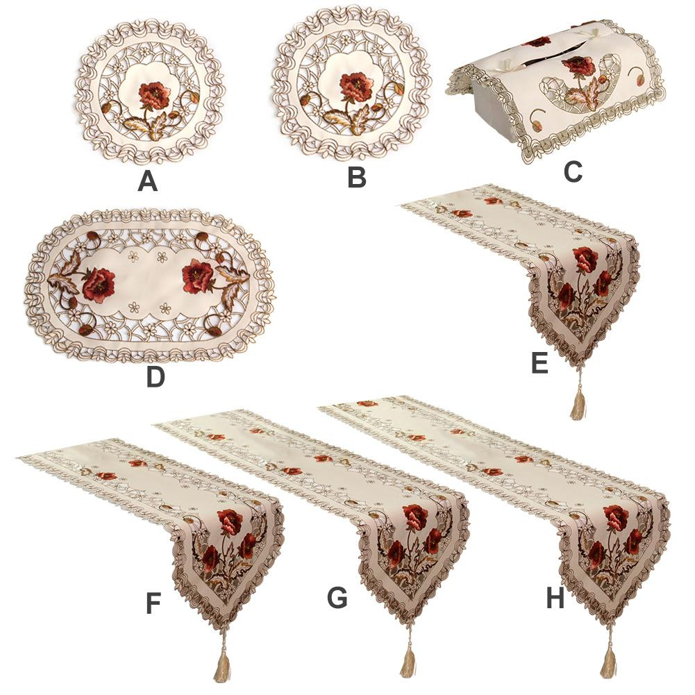 Embroidered Table Flag Modern Table Runner Tablecloth Table Runners Dinner Mats Party Wedding Decor Home Fabric Table Cover Set