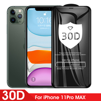 Protector de pantalla para IPhone 11 Pro Max, cristal 30D de cobertura completa para IPhone 11 SE 2020 10 X XS Max XR 6 6s 7 8 Plus