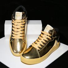 Gold Silver Black Leather Casual Shoes Men Bling High Top Big Size Couple Shoes Lace Up Sneakers Outdoor Male Footwear cangma famous retro leisure shoes men sneakers silver glitter top quality sequin male flat shoes zebra pattern footwear big size