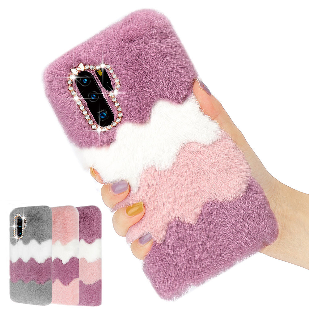 LCHULLE Cute Warm Furry Fluffy Case for Samsung S7 Edge S8 S9 S10 Plus Note 8 9 Note 10 Plus 5G TPU Fur Hair Cover Shell Coque image