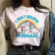 Cute Unicorn T Shirt Women Fun Korean Style Harajuku T-shirt Ullzang Unicornio Kawaii Cartoon Tshirt