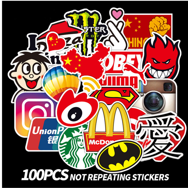 100Pcs Fashion Brand Graffiti Stickers Laptop Macbook Guitar Water Cup Luggag Fridge Skateboard Surfboard Motorcycle Decal Decor