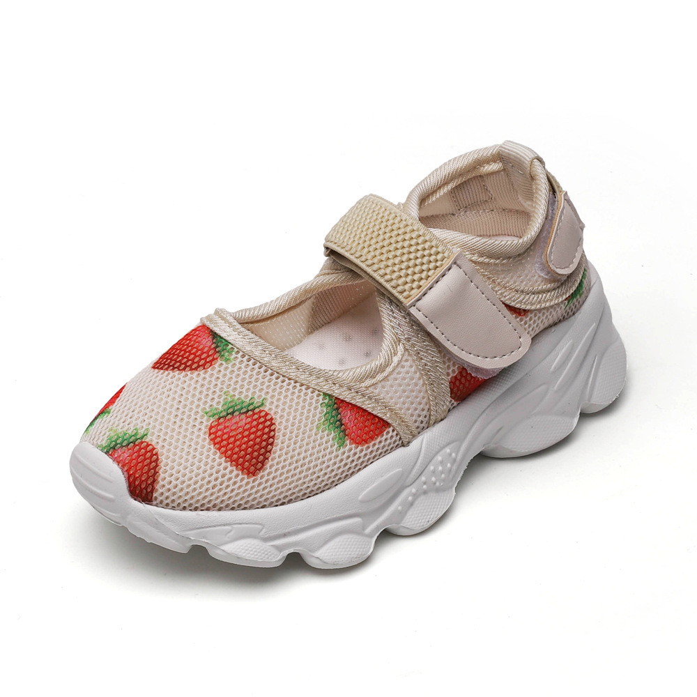 2020 Spring New Children Mesh Shoes Summer Cute Strawberry Children Sports Shoes Girls Platform Casual Shoes