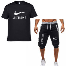 2019 Summer New Just T-Shirt Mens Cotton Casual + Shorts Set Tops Customized Pattern Break It