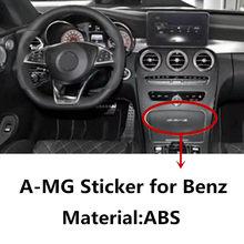 2 pçs abs interior console central emblema adesivo para benz amg w212 w213 w211 w202 w204 w205 c e classe gla glc cls decoração