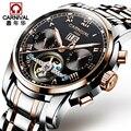 Новинка 2019  карнавальные Tourbillon  автоматические механические часы  бизнес часы из нержавеющей стали  мужские часы  Топ бренд  роскошные часы