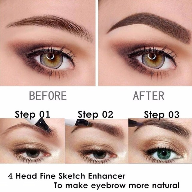 3D Microblading Eye Brow Tattoo Pen 4 Colors 4 Fork Tips Fine Sketch Ink Liquid Eyebrow Pencil Waterproof Tint Eyes Makeup TSLM2 3