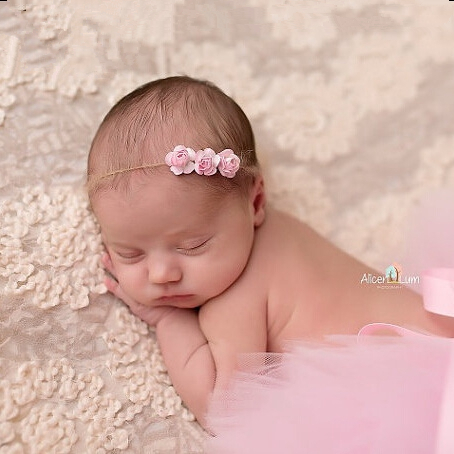 Yundfly Chic Hemp Rope Headband Rose Kids Girl Hairband Newborn Headwear Photography Prop Kids Photo Prop Birthday Gift Prop