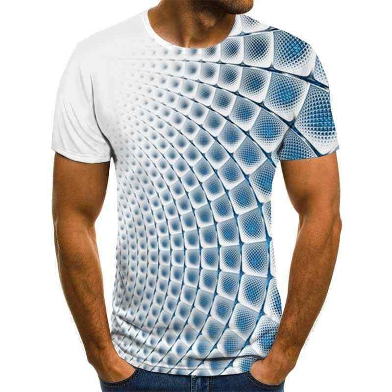 三次元渦男性tシャツ3Dプリント夏oネック毎日カジュアルおかしいtシャツ