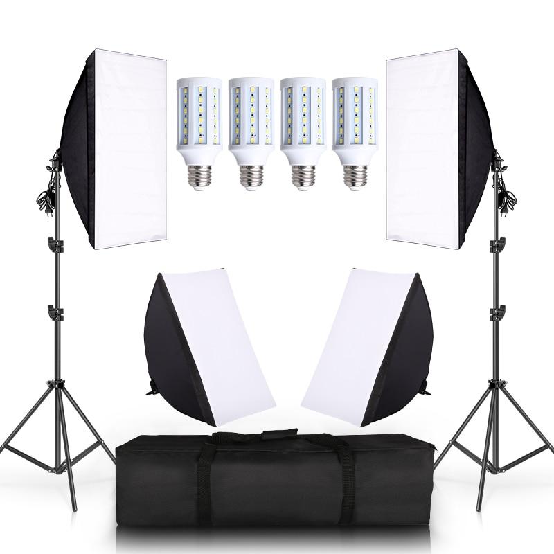 4 LED 20W Photo Studio SoftBox Camera Photo 2 Light Stand 4 Softbox Photographic Lighting Kit Camera & Photo Accessories Studio 1