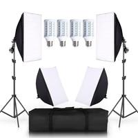4 LED 20W Photo Studio SoftBox Camera Photo 2 Light Stand 4 Softbox Photographic Lighting Kit Camera & Photo Accessories Studio