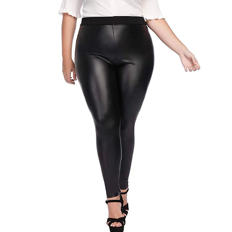 Women Plus Size All-match Pants Leather Leggings Pants Autumn Female High Elastic Waist Black Pencil Pants