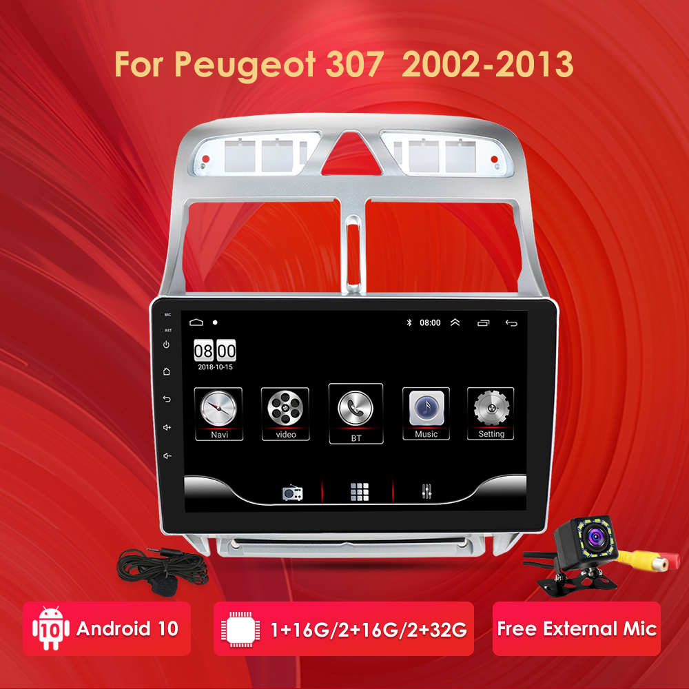 Car android gps navigation player <font><b>For</b></font> <font><b>Peugeot</b></font> <font><b>307</b></font> 307CC 307SW 2004-2013 car <font><b>radio</b></font> Multimedia stereo WiFi Video <font><b>2din</b></font> android 2+32 image