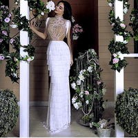 White Illusion Mermaid Prom Dresses For Latin Dance Heavy Beads Evening Dresses 2020 Long Formal Party Dress For Wedding Party