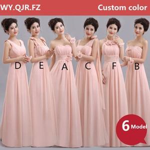 Image 3 - QNZL70F # Halter คอลูกไม้ชีฟองสีม่วงแชมเปญ Nude สีชมพูชุดเจ้าสาวยาวขายส่งที่กำหนดเองงานแต่งงานชุดสาว