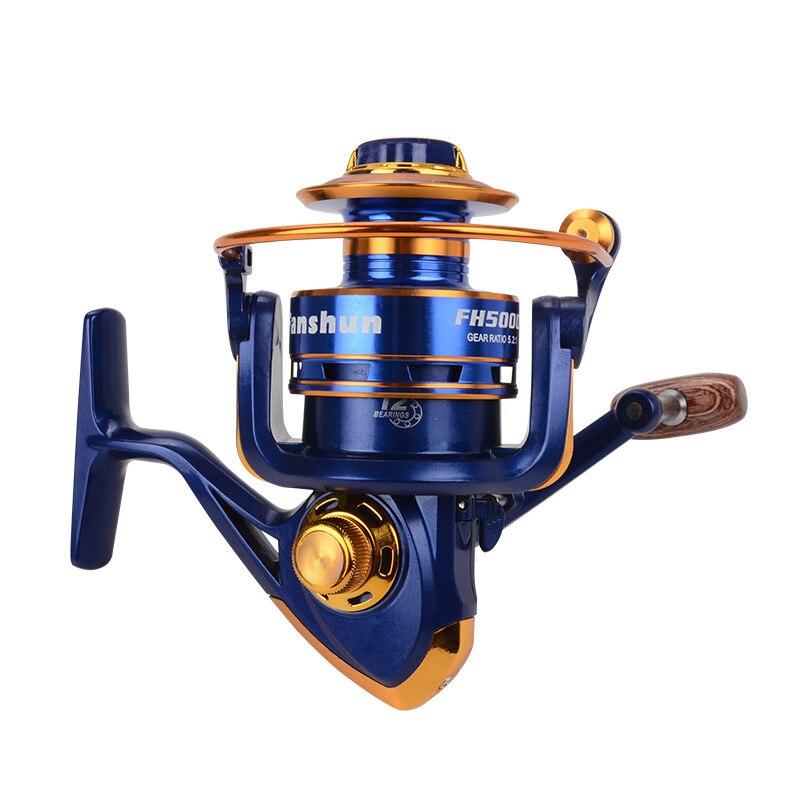Iplik Reel 12 + 1BB 5.2: 1 yüksek hız dişli oranı pürüzsüz uzun döküm güçlü balıkçılık Reel balıkçılık aksesuarları|Balıkçılık Makaraları|Spor ve Eğlence - title=