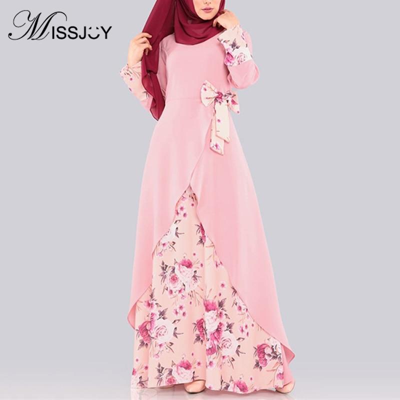 MISSJOY 2019 Muslim Women Dresses Kimono Abaya Print Floral Bow Arabic Split Irregular Malaysia Dubai Elegant Robe Female Casual