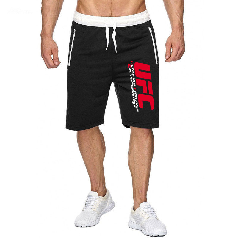 Street Fashion UFC Printed   Shorts   Men's Cotton Casual   Shorts     Short   Athletic Pants