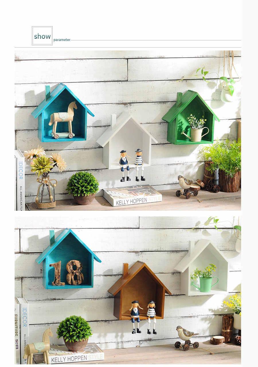 Casa em forma de madeira caixa organizador prateleira de parede mesa armazenamento caixa cubby eco-friendly saco para casa quarto armazenamento criativo