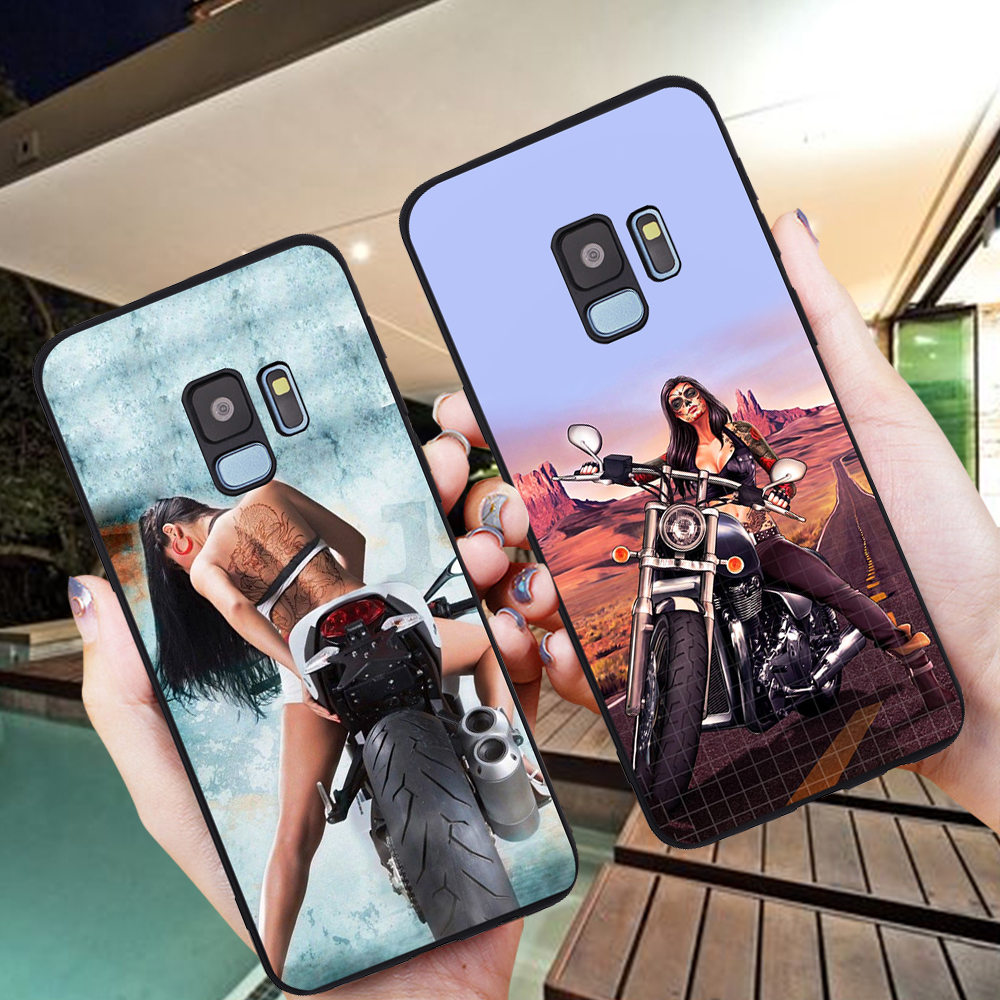 Girl sexy motorcycle For Samsung Galaxy S6 S7 Edge S8 S9 S10 Plus Lite Note 8 9 10 A30 A40 A50 A60 A70 M10 M20 Case Cover coque image