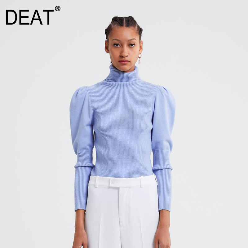 DEAT Sky Blue High Collar Bubble Long Sleeve Slim Bottoming Knit Plus Woman Sweater Casual Simple Fashion 2019 Winter New TD199