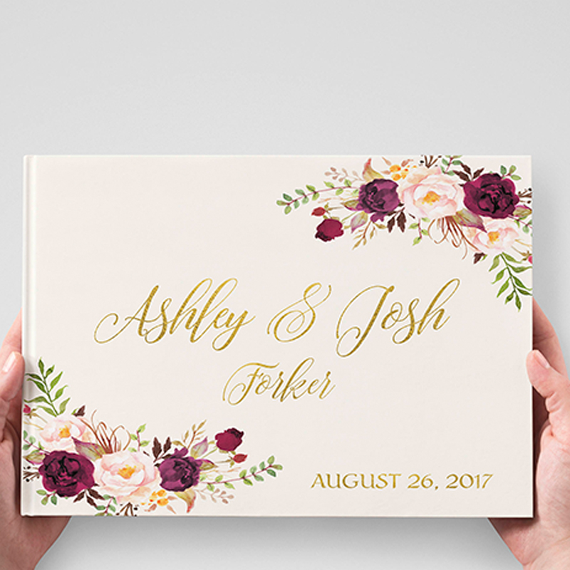 White Wedding Guest Book Alternative Gold Silver Letters Personalized Guest Book Wedding Guestbook Gift For Couple Flower Sign