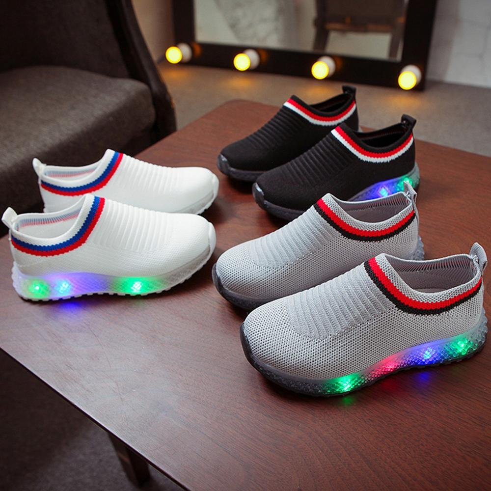 2019 New Children Kids Baby Girls Boys Mesh Led Luminous Sport Run Sneakers Casual Kids Shoes Breathable Led Light Sapato Infant