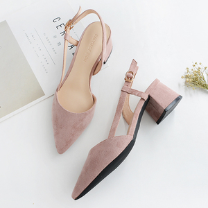 Image 5 - 2020 Hot Shoes Woman 4.5CM Square High Heels Slingbacks Faux Suede Point Toe Women Office Lady Solid Sandals Female Wedding Shoe