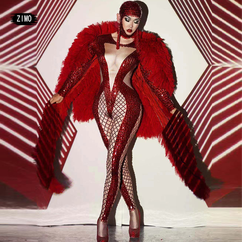 Shiny sequin Red jumpsuit coat headwear sets Sexy Women Birthday Celebration Evening Singer Party club outfits stage drag queen