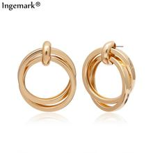 Punk Gold Silver Big Double Circle Drop Earrings for Women Accesorios Mujer Korean Simple Round Brincos Earrings Jewelry Gifts цена